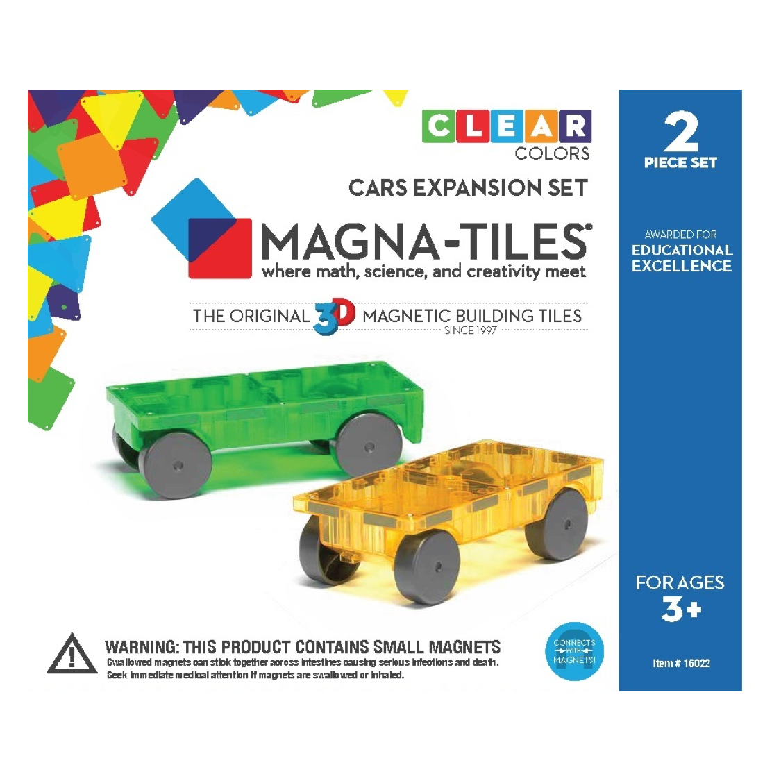 Magna-Tiles 2-Piece Car Expansion Set The Original