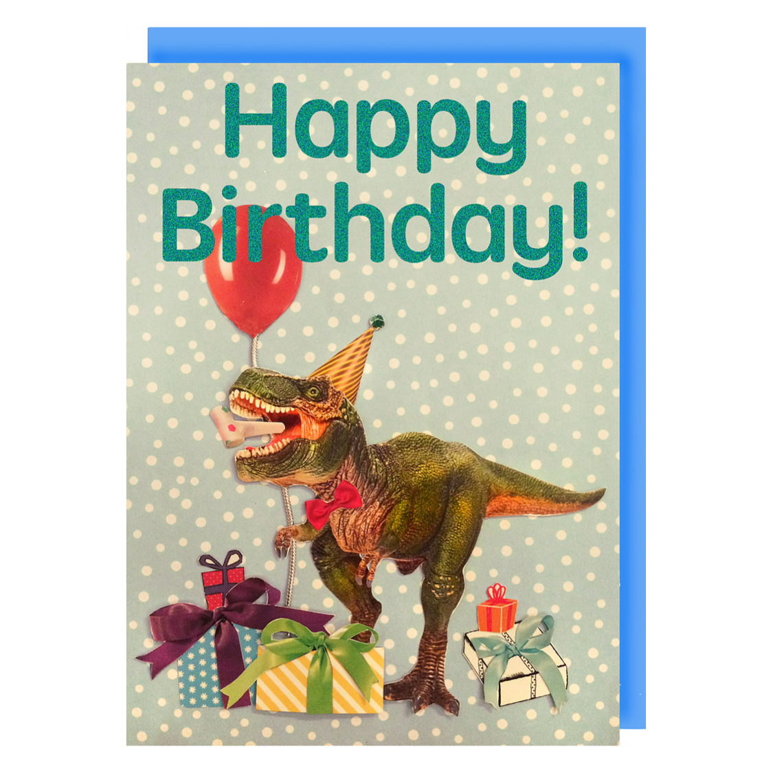 Collage Queen Happy Birthday Card T Rex Party