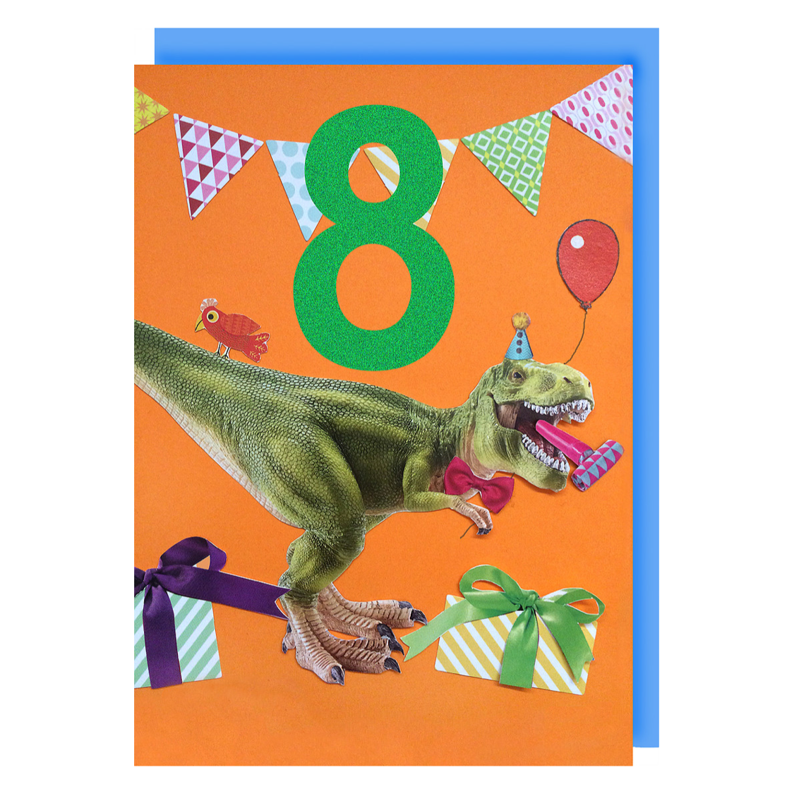 Collage Queen Age 8 Birthday Card T Rex Party