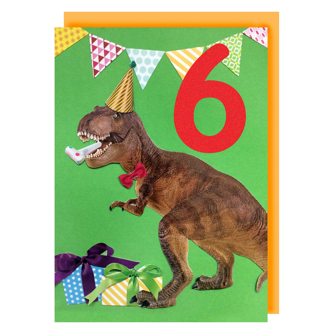 Collage Queen Age 6 Birthday Card T Rex Party