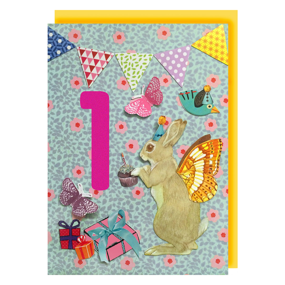 Collage Queen Age 1 Birthday Card Bunny And Butterflies